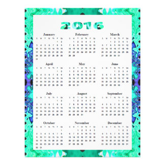 Turquoise Blue Abstract 2016 Calendar 21.5 Cm X 28 Cm Flyer