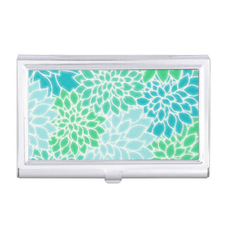 Turquoise Blue Abstract Flowers Business Card Holder