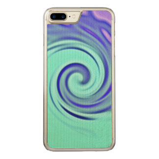 Turquoise Blue Abstract Wave Art Carved iPhone 8 Plus/7 Plus Case