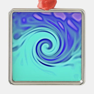 Turquoise Blue Abstract Wave Art Silver-Colored Square Decoration