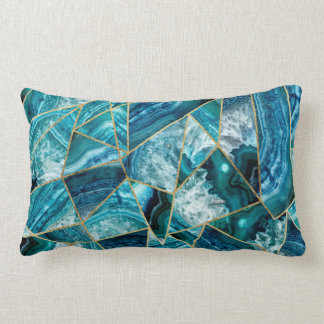 Turquoise Blue Agate Black Gold Geometric Triangle Lumbar Cushion