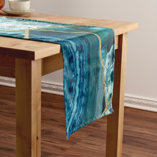 cabe46a1d Turquoise Blue Agate Black Gold Geometric Triangle Short Table Runner |  Zazzle.co.uk