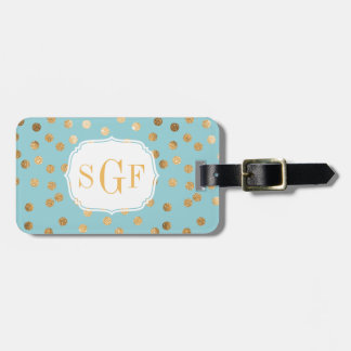 Turquoise Blue and Gold Glitter City Dots Monogram Luggage Tag