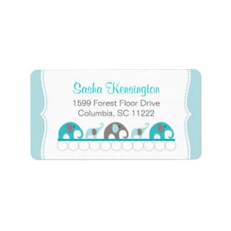 Turquoise Blue and Gray Elephants Baby Girl Shower Label