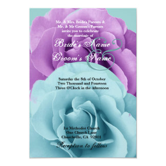 Turquoise  Blue and Purple Rose Wedding Template Card
