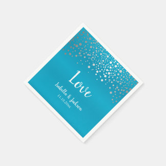 Turquoise Blue and Silver Confetti Dots Disposable Serviettes