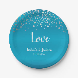 Turquoise Blue and Silver Confetti Dots Paper Plate