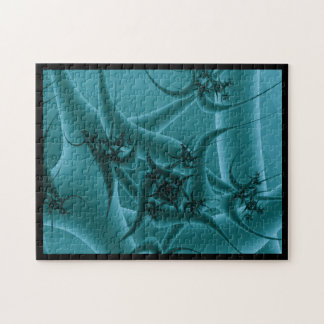 Turquoise Blue and Teal Fractal Art Design. Jigsaw Puzzle