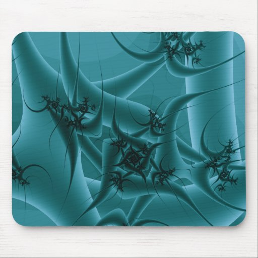 Turquoise Blue and Teal Fractal Art Design. Mousepads