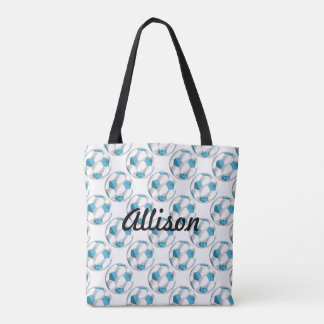 Turquoise Blue and White Soccer Balls with Name Tote Bag