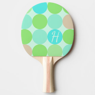 Turquoise Blue, Apple Green & Light Coral Circles Ping Pong Paddle