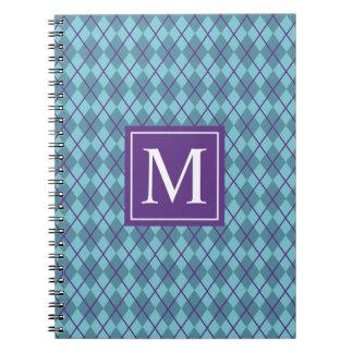 Turquoise Blue Argyle Monogram | Notebook