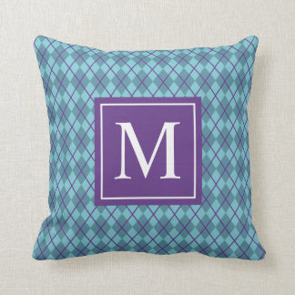 Turquoise Blue Argyle Monogram | Throw Pillow