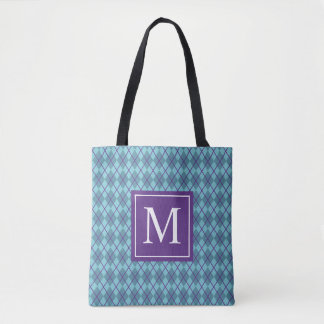 Turquoise Blue Argyle Monogram | Tote Bag