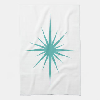 Turquoise Blue Atomic Star Mid Century Hand Towel
