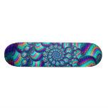 Turquoise Blue Balls Fractal Pattern Skateboard Deck