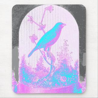 Turquoise Blue Bird, pale pink, purple, black Mousepads