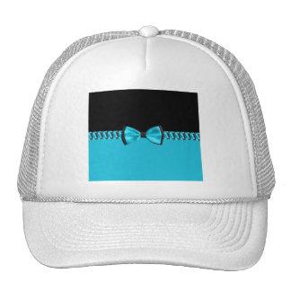Turquoise Blue & Black Classy Bow Tie & Ribbon Cap