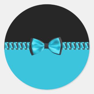 Turquoise Blue & Black Classy Bow Tie & Ribbon Round Sticker