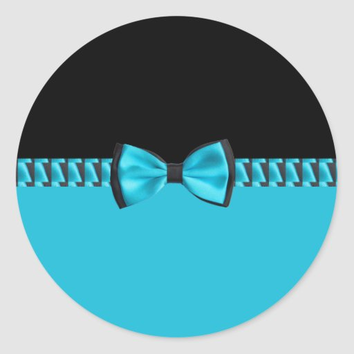 Turquoise Blue & Black Classy Bow Tie & Ribbon Sticker