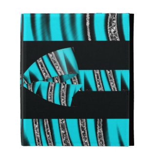 Turquoise Blue Black Zebra Glitter Stripes iPad Cases