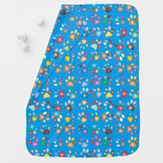 Turquoise Blue Boy Pastel Cat Paw Print Swaddle Blankets