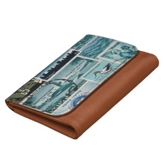 Turquoise Blue & Brown Wallet, Mail Art Purse Wallet