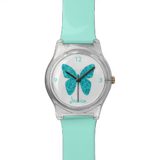 Turquoise Blue Butterfly on White Girly Name Watch