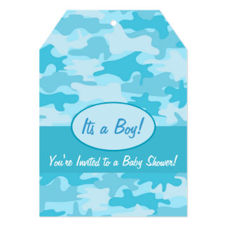 "Turquoise Blue Camo Camouflage Baby Shower 5"" X 7"" Invitation Card"