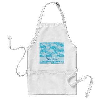 Turquoise Blue Camo Camouflage Name Personalized Apron