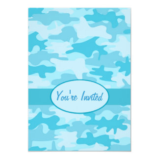 Turquoise Blue Camo Camouflage Party Event 13 Cm X 18 Cm Invitation Card
