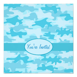 "Turquoise Blue Camo Camouflage Party Event 5.25"" Square Invitation Card"