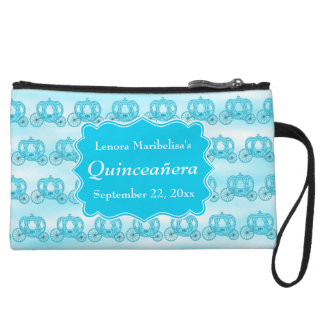 Turquoise Blue Carriages Quinceanera Wristlet Purses