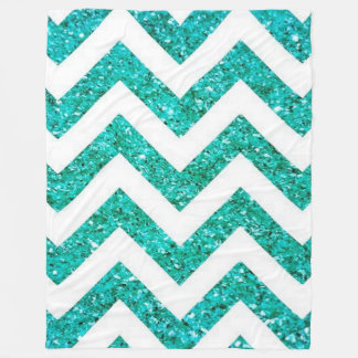 Turquoise Blue Chevron Glitter Pattern Fleece Blanket