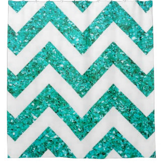 Turquoise Blue Chevron Glitter Pattern Shower Curtain