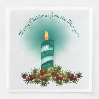 Turquoise Blue Christmas Candle Paper Napkin