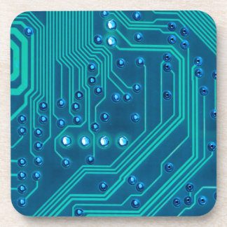 Turquoise Blue Circuit Board - Electronic Print Beverage Coasters