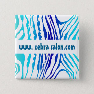 Turquoise Blue Classy Zebra Pattern Professional 15 Cm Square Badge