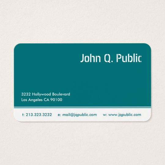 Turquoise Blue Colour Business Card