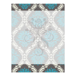 turquoise blue cream and brown lovely damask custom flyer
