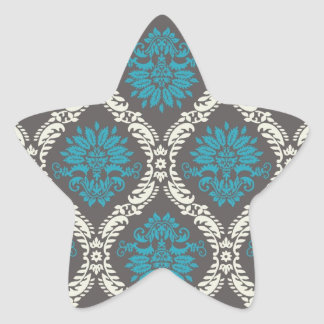 turquoise blue cream and brown lovely damask star sticker