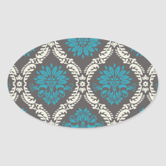 turquoise blue cream and brown lovely damask oval stickers