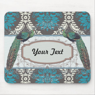 turquoise blue cream and brown peacock damask mouse pad