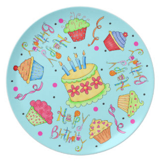 Turquoise Blue Cupcakes and Cake Happy Birthday Plate