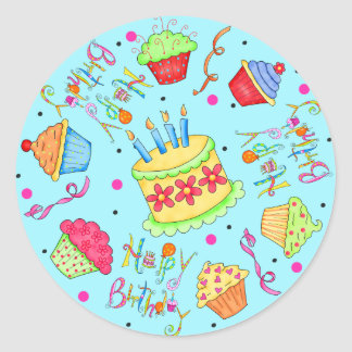 Turquoise Blue Cupcakes and Cake Happy Birthday Round Sticker