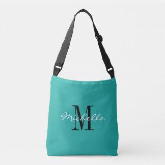 Turquoise blue custom monogram cross body bag