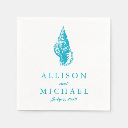 Turquoise Blue Custom Seashell Beach Wedding Disposable Serviette