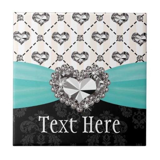 Turquoise Blue Diamond Heart Ceramic Tile Trivet