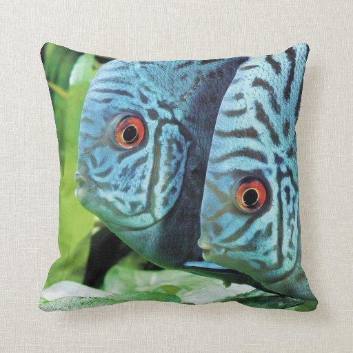 Turquoise Blue Discus Throw Pillows