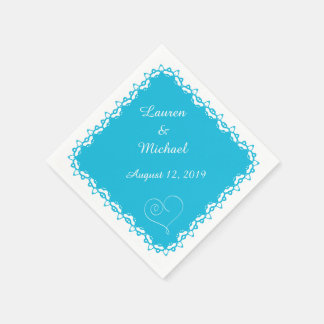 Turquoise Blue Doily Heart Personalized Disposable Napkins